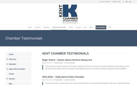 Screenshot of Testimonials Page kentchamber.com - Chamber Testimonials – Kent Chamber of Commerce - captured Oct. 15, 2018