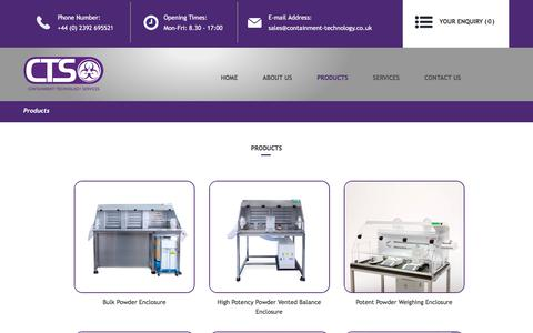Screenshot of Products Page containment-technology.co.uk - Products - captured Sept. 26, 2018