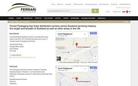 Screenshot of Locations Page ferraripackaging.co.uk - Ferrari Packaging Locations Throughout Scotland - captured Nov. 22, 2016