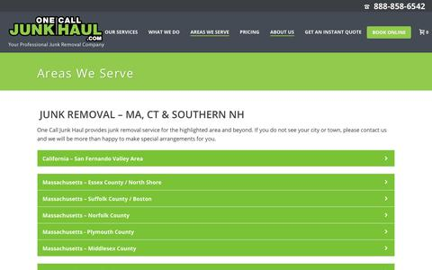 Screenshot of Locations Page onecalljunkhaul.com - Junk Removal Services, Dumpster Rentals- MA, NH & CT | One Call Junk Haul - captured Aug. 3, 2019