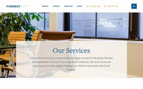 Screenshot of Services Page forrestfirm.com - Services - Forrest Firm - captured July 11, 2019