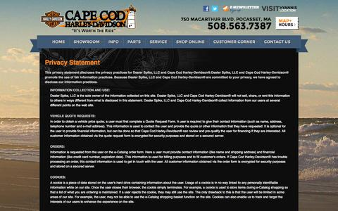 Screenshot of Privacy Page capecodharley.com - Privacy | Cape Cod Harley-Davidson® | Pocasset Massachusetts - captured Oct. 1, 2014