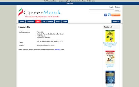Screenshot of Contact Page careermonk.com - Contact Us - CareerMonk Publications - Interview Questions | Books - captured Sept. 23, 2014