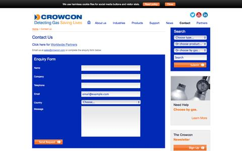 Screenshot of Contact Page crowcon.com - Crowcon Detection Instruments, Gas, Monitoring, Contact Us - captured Oct. 10, 2014