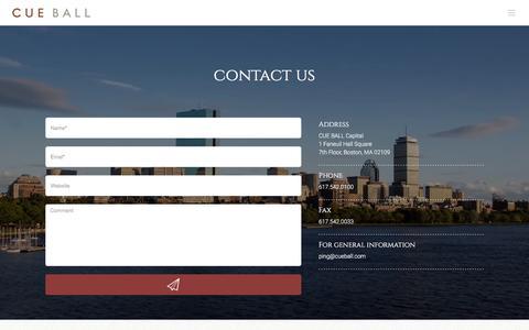 Screenshot of Contact Page cueball.com - Cue Ball   –  CONTACT - captured Feb. 1, 2016