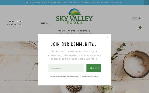 Screenshot of Contact Page skyvalleyfoods.com - CONTACT US — Sky Valley Foods - captured Oct. 20, 2018