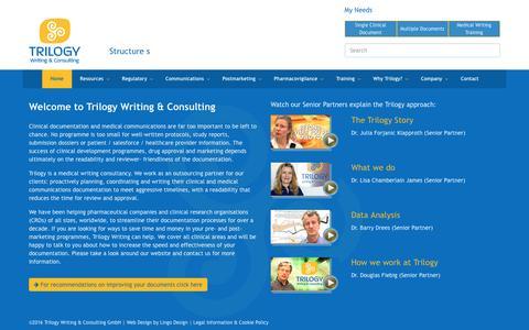 Screenshot of Home Page trilogywriting.com - Medical Writing Consultancy - Trilogy Writing & Consulting GmbH - captured Dec. 16, 2016