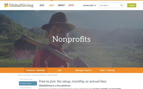 Screenshot of Pricing Page globalgiving.org - No setup, monthly, or annual fees - GlobalGiving - captured Dec. 19, 2015