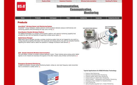 Screenshot of Products Page bsbwireless.com - Wireless instrumentation monitoring system for rupture disks/discs and sensors, wireless monitoring for leak detection, wireless bursting detection and monitoring. - captured March 29, 2016