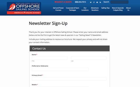 Screenshot of Signup Page offshoresailing.com - Sailing Newsletter | Offshore Sailing School - captured June 12, 2017