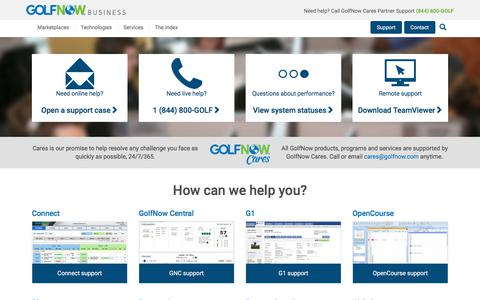 Screenshot of Support Page golfnow.com - Support central - GolfNow Business - captured March 17, 2018