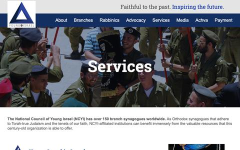 Screenshot of Services Page youngisrael.org - Young Israel - The National Council of Young Israel services - captured Dec. 20, 2018