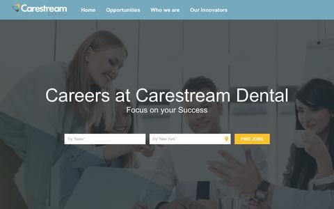 Screenshot of Jobs Page carestreamdental.com - Carestream Dental Apply - captured Sept. 27, 2018