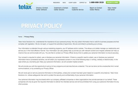 Screenshot of Privacy Page telax.com - Privacy Policy | Telax - captured Oct. 26, 2014
