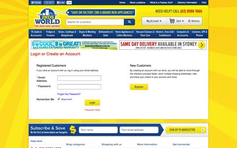 Screenshot of Login Page 2ndsworld.com.au - Customer Login - Buy Factory 2nd and New Appliances and White Goods Online at 2nds World - captured Oct. 30, 2014