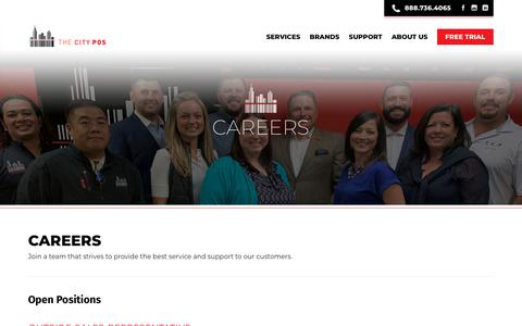 Screenshot of Jobs Page thecitypos.com - careers - The City POS - captured Nov. 18, 2018