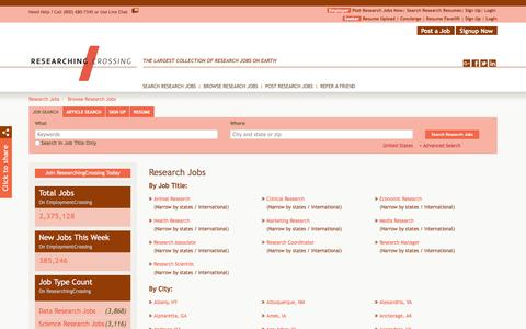 Screenshot of Jobs Page researchingcrossing.com - Research Jobs, Browse Jobs in Research By Job Type, City, State in United States | ResearchingCrossing.com - captured Sept. 21, 2018