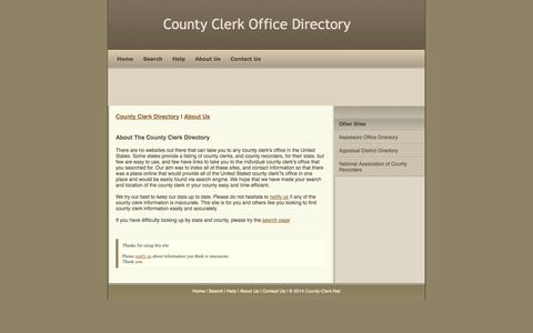 Screenshot of About Page county-clerk.net - County Clerk Directory - captured Nov. 5, 2014