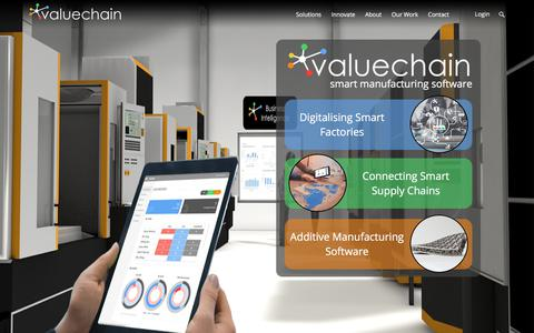 Screenshot of Home Page valuechain.com - Valuechain | Smart Manufacturing Software to Create World-Class Supply Chains - captured July 29, 2018