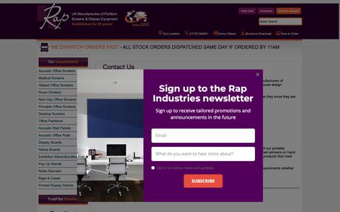 Screenshot of Contact Page rapind.com - How to Contact Rap Industries Limited - captured Oct. 20, 2018