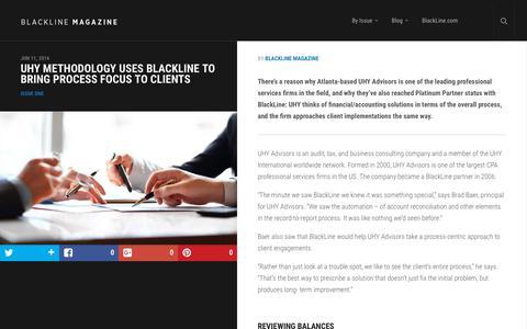 Screenshot of Case Studies Page blackline.com - UHY Methodology Uses BlackLine to Bring Process Focus to Clients | BlackLine Magazine - captured Nov. 29, 2019