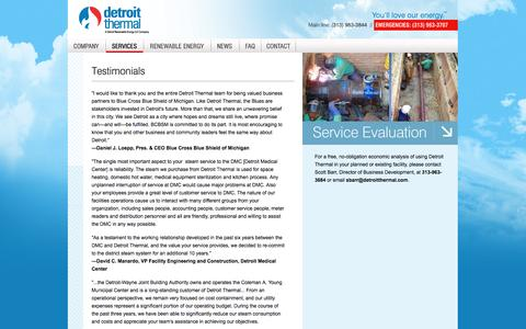 Screenshot of Testimonials Page detroitthermal.com - Testimonials - Detroit Thermal customer testimonials, comments and feedback - Services | Detroit Thermal LLC - captured Oct. 8, 2014