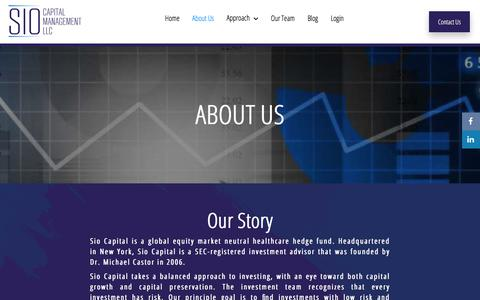 Screenshot of About Page siocapital.com - About Us - Sio Capital Management, LLC - captured Oct. 5, 2017