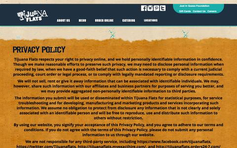 Screenshot of Privacy Page tijuanaflats.com - Privacy Policy - Tijuana Flats - captured Feb. 1, 2016