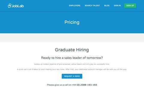 Screenshot of Pricing Page joblab.com - Pricing - JobLab - captured Oct. 14, 2018
