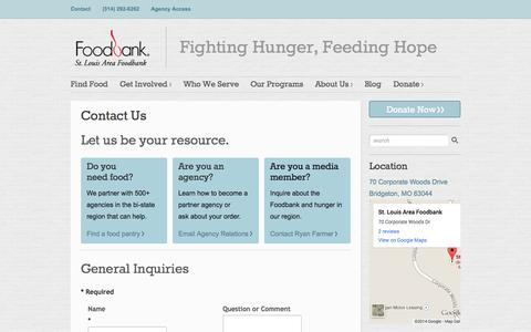 Screenshot of Contact Page stlfoodbank.org - Contact Us | St. Louis Area Foodbank - captured Sept. 23, 2014