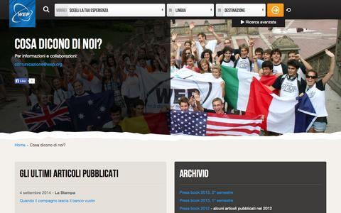Screenshot of Press Page wep-italia.org - Cosa dicono di noi? - captured Sept. 24, 2014