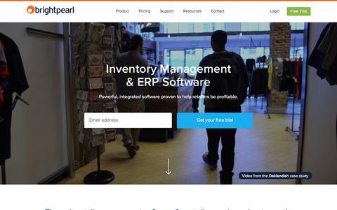 Screenshot of Home Page brightpearl.com - Inventory Management & ERP Software | Brightpearl - captured Dec. 12, 2015