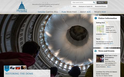 Screenshot of Home Page aoc.gov - Architect of the Capitol | United States Capitol | Stewards of the iconic buildings and grounds of Capitol Hill since 1793. - captured Sept. 22, 2014