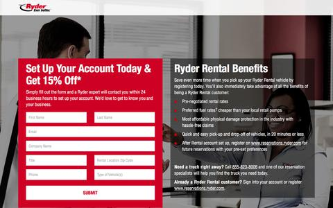 Screenshot of Landing Page ryder.com - Set Up Your Ryder Rental Account Today - captured May 17, 2018