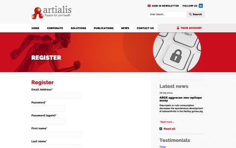 Screenshot of Signup Page artialis.com - Register | Artialis - captured Sept. 30, 2014