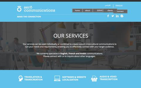 Screenshot of Services Page serocommunications.com - Sero Communications | Cross-Cultural Communications Agency | Services - captured June 12, 2017