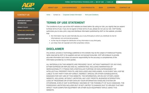 Screenshot of Terms Page agp.com - AGP - Terms and Conditions - captured Feb. 5, 2016