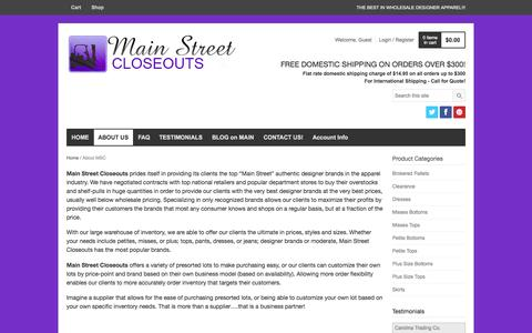 Screenshot of About Page mainstreetcloseouts.com - About MSC | MS Closeouts - captured Sept. 30, 2014