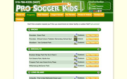 Screenshot of Locations Page prosoccerkids.com - Locations | Pro Soccer Kids - captured Sept. 30, 2014