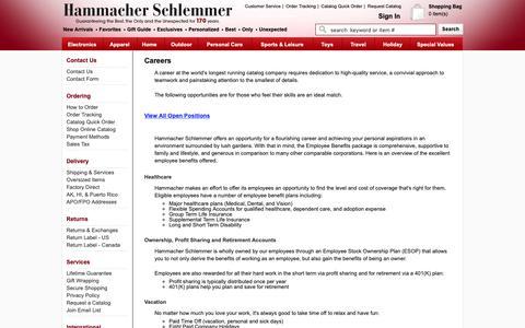 Screenshot of Jobs Page hammacher.com - Hammacher Schlemmer Careers - Hammacher Schlemmer - captured Sept. 27, 2018