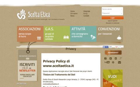 Screenshot of Privacy Page sceltaetica.it - Scelta Etica   Privacy - captured Dec. 22, 2015