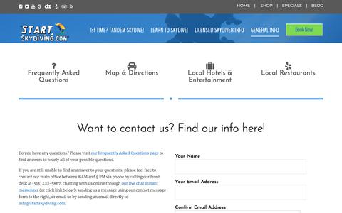 Screenshot of Contact Page startskydiving.com - Start Skydiving near Cincinnati, Dayton, & Columbus Ohio | Start Skydiving - captured Oct. 22, 2018