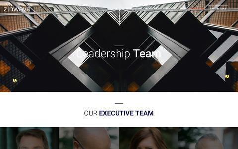 Screenshot of Team Page zinwave.com - Zinwave Leadership | DAS Thought Leaders - captured July 13, 2018