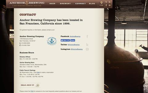 Screenshot of Contact Page anchorbrewing.com - Contact Our San Francisco Bay Area Brewery | Anchor Brewing - captured Oct. 8, 2017