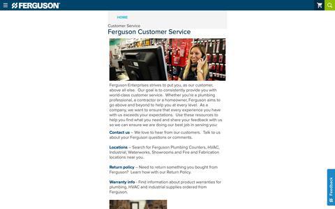 Screenshot of Support Page ferguson.com - Customer Service, Order Support, Contact Info - captured Dec. 28, 2018