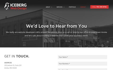 Screenshot of Contact Page icebergwebdesign.com - Contact Us - We'd Love to Hear From You | Iceberg Web Design - captured July 13, 2019