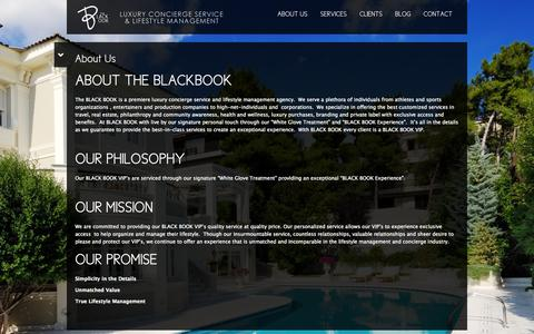 Screenshot of About Page theblackbookvip.com - About Us | The Black Book - captured Oct. 7, 2014