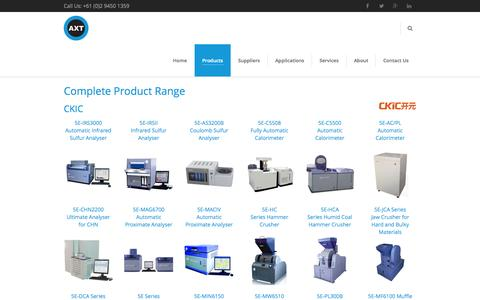 Screenshot of Products Page axt.com.au - AXT PTY LTD Complete Product Range - AXT PTY LTD - captured Nov. 2, 2014