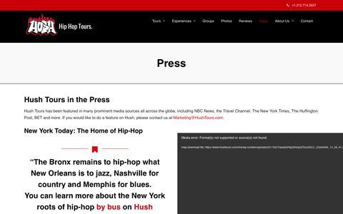 Screenshot of Press Page hushtours.com - Press | Hush Hip Hop Tours - captured July 24, 2018