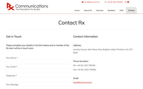 Screenshot of Contact Page rxcomms.com - Rx Comms | Global Boutique Medical Communications Agency - captured Oct. 25, 2017